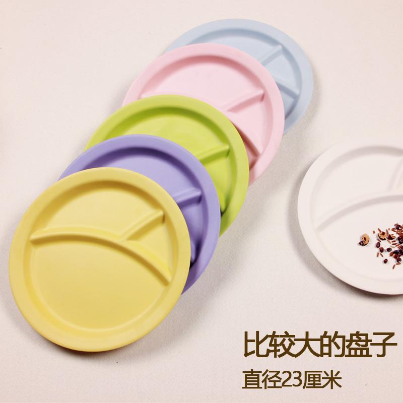 竹纤维儿童餐具糖果色分隔盘儿童西餐盘宝宝水果盘浅盘2岁以上