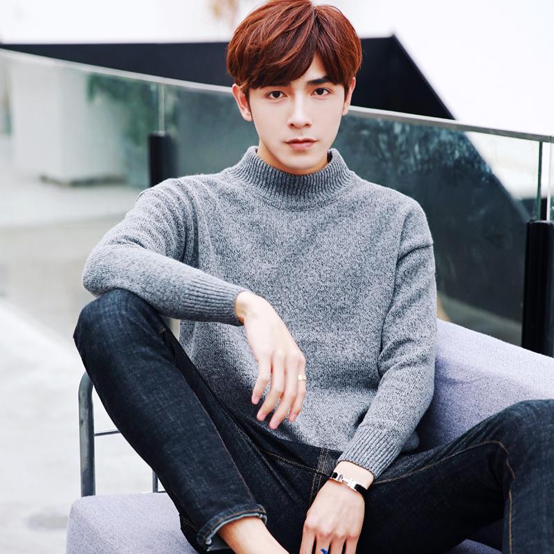 男士纯色半高领毛衣男 加厚打底衫秋冬季外套上衣针织衫毛衫线衫