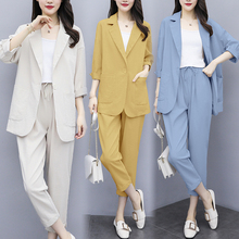 大码时尚职业(小)西装外套女bu9季韩款宽ia麻西服两件套套装潮