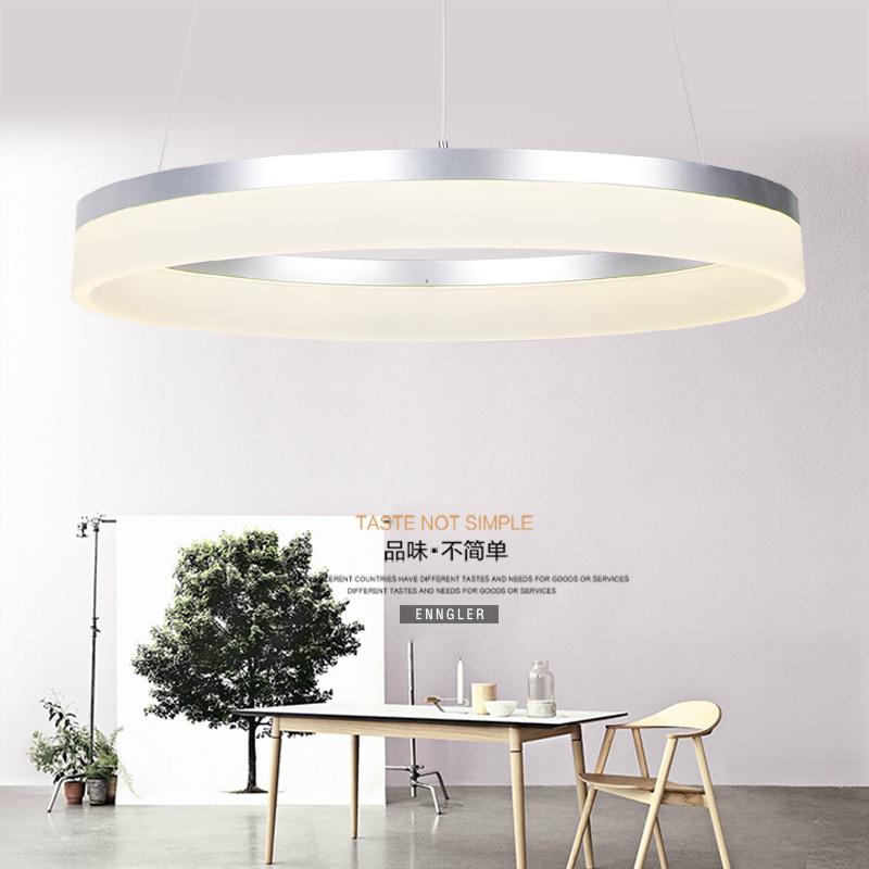后现代简约北欧环形LED餐厅吊灯 卧室创意个性圆形铝材客厅灯具-光诺照明科技