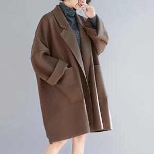 秋冬大码女装200斤韩版洋气质显瘦中长款毛呢外套微胖mm呢子大衣