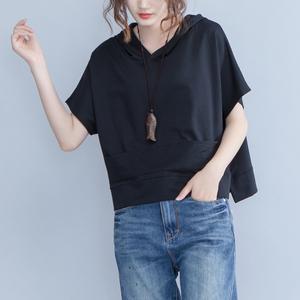 大码女装2018夏季新款纯棉连帽休闲卫衣