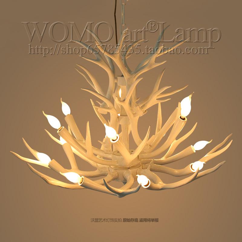 沃盟复古吊灯乡村客厅餐厅吧台复古艺术酒吧吊灯个性创意鹿角吊灯-沃盟艺术灯饰