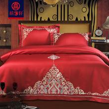 欧式贡缎大红色婚庆四件套全棉刺绣新mu14庆床上bo件套床品