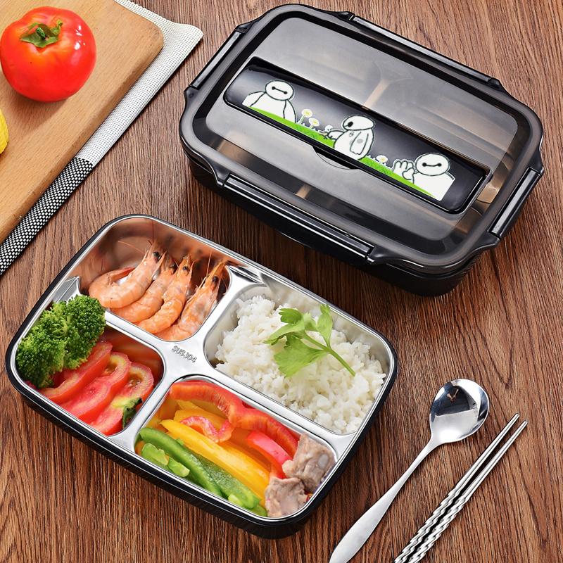 学生304不锈钢饭盒防烫带盖儿童小学生便当盒餐盒上班族餐盘分格