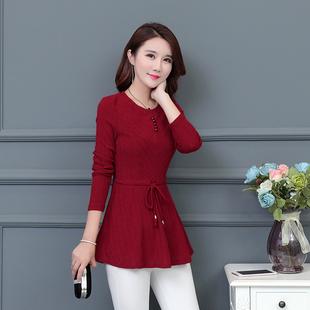 秋冬季打底衫中年人女装妈妈秋装上衣秋衣外穿中长款长袖显瘦小衫