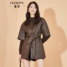 轻奢系列海贝女装2020秋装新款时尚休闲宽松百搭气质收腰皮外套