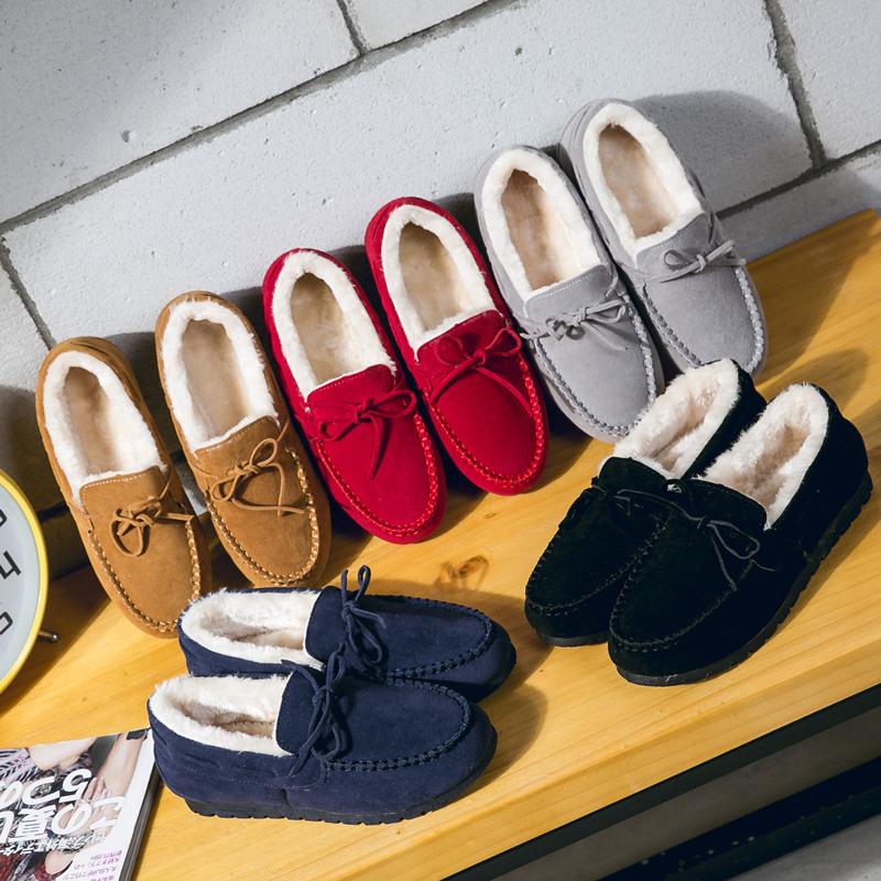 豆豆鞋女冬加绒棉鞋平底厚大码孕妇妈妈鞋社会保暖开车工作毛毛鞋