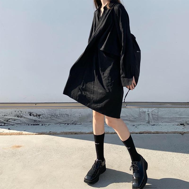 自制朋克女装暗黑日系学生连衣裙冷淡复古厌世风禁欲不规则衬衫裙