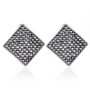 Hong 925 Silver jewelry, silver square Stud Earrings handmade old silversmith retro ear clip in Europe and big-eared female buckle