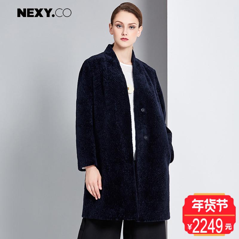 NEXY.CO/奈蔻宽松简约百搭毛呢大衣女中长款纯色羊毛外套冬季新品