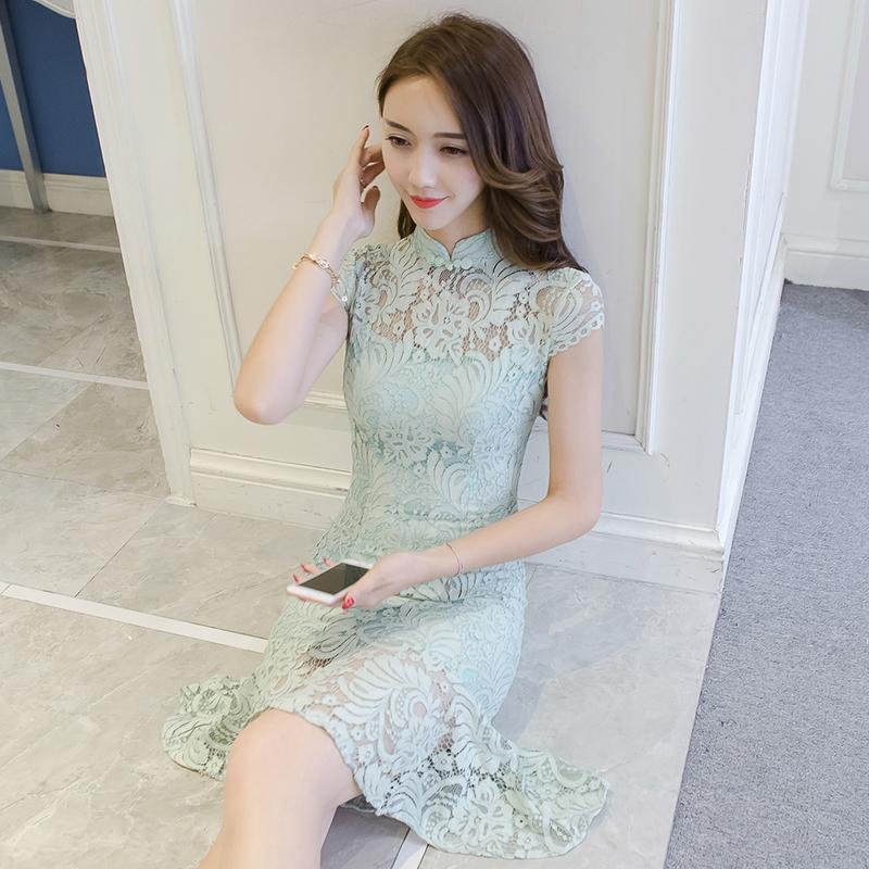 清新旗袍鱼尾裙夏季改良版连衣裙年轻款少女学生时尚修身显瘦短款