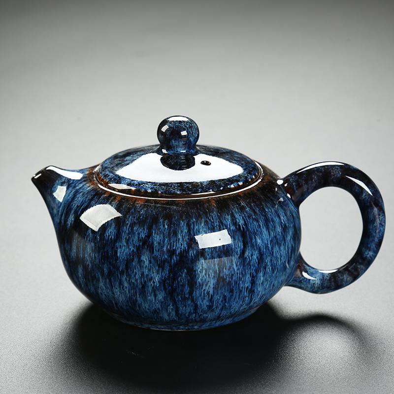 建盏日式复古茶壶陶瓷窑变天目釉家用办公功夫茶具单壶大号泡茶壶