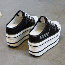 内增高(小)白鞋女ji4021新an11cm松糕帆布鞋厚底一脚蹬高跟拖鞋