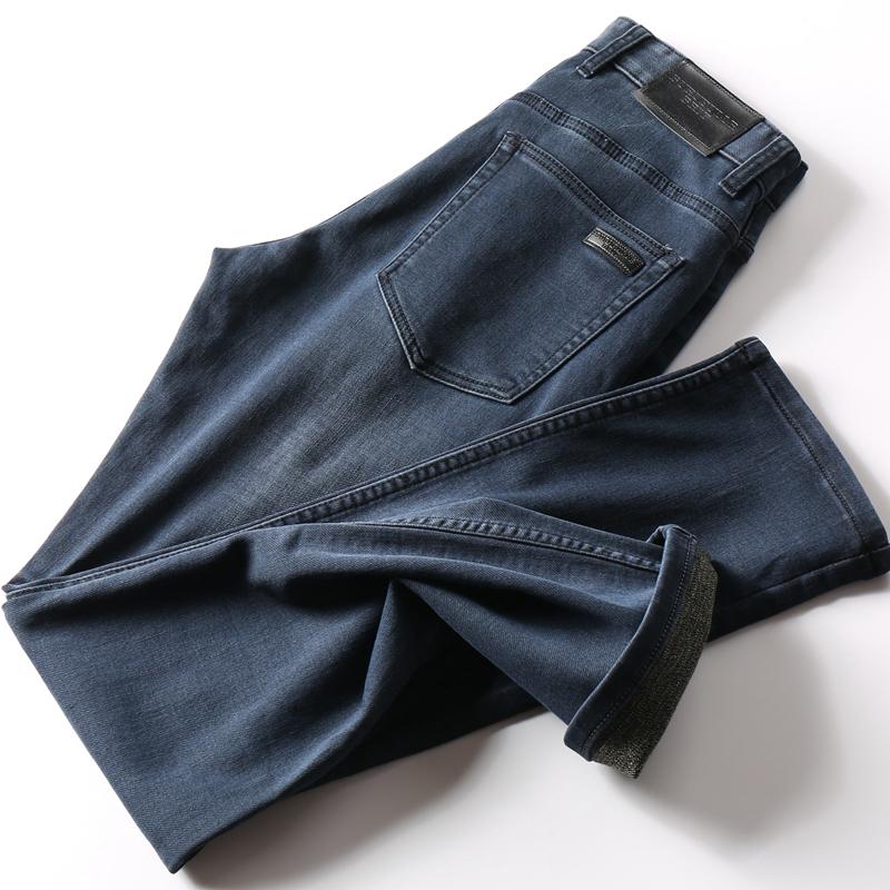 巨强舒适感高档针织软面料实穿男士修身直筒牛仔裤男简约弹力长裤