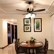 Fan lamp ceiling fan lamp domestic dining room lamp dining room with electric fan chandelier simple and atmospheric American living room bedroom lamp