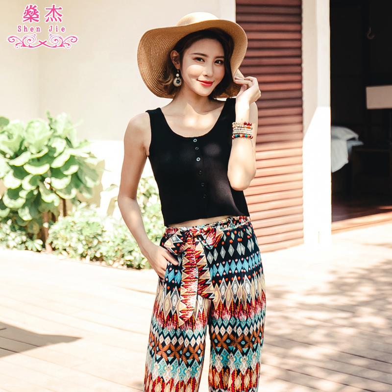 燊杰百搭海边度假针织衫黑色显瘦吊带背心女装夏季打底衫性感上衣