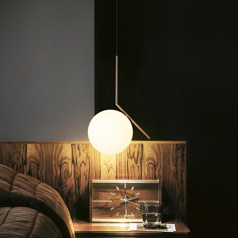 KC现代风格球形圆球餐厅吊灯北欧简约卧室客厅魔豆灯单头床头灯具-kc灯具旗舰店