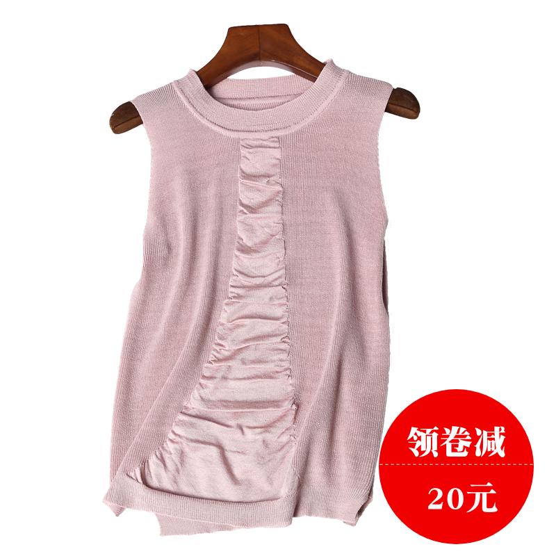 夏新款女装外穿冰麻针织背心女纯色褶皱无袖圆领针织T恤女坎肩