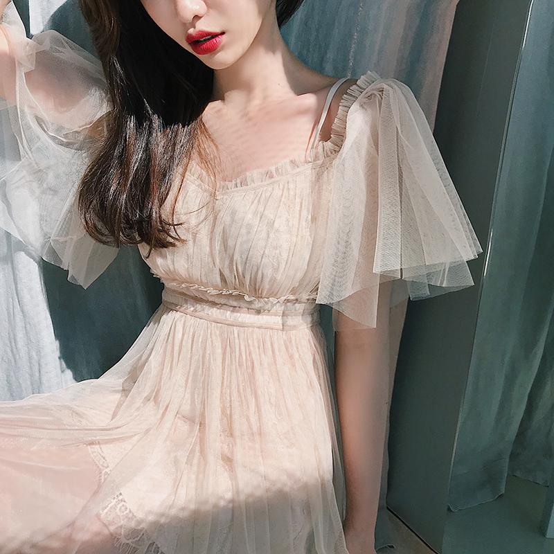 子晴吊带一字肩连衣裙女夏2018新款温柔裙超仙中长款蕾丝网纱裙子