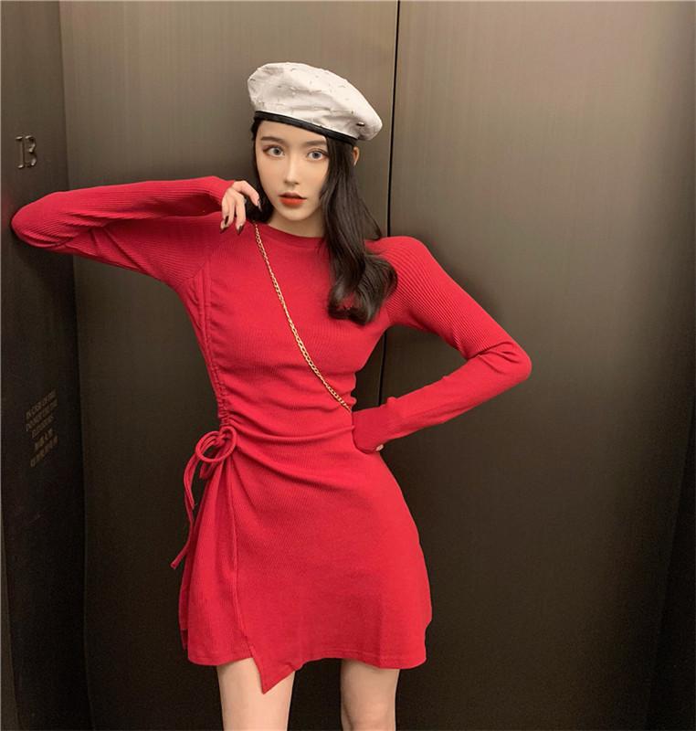 韩版性感收腰显瘦抽绳纯色不规则长袖连衣裙打底裙女实拍实价-潇依服饰-