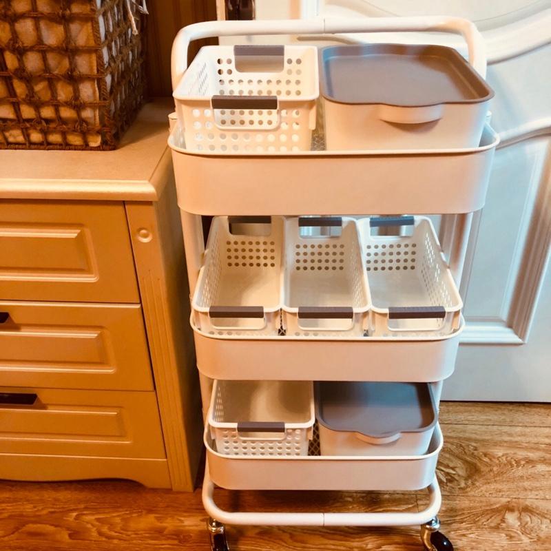 宜家置物架小推车可移动浴室落地婴儿收纳神器厨房铁艺储物架带轮满99元减20元