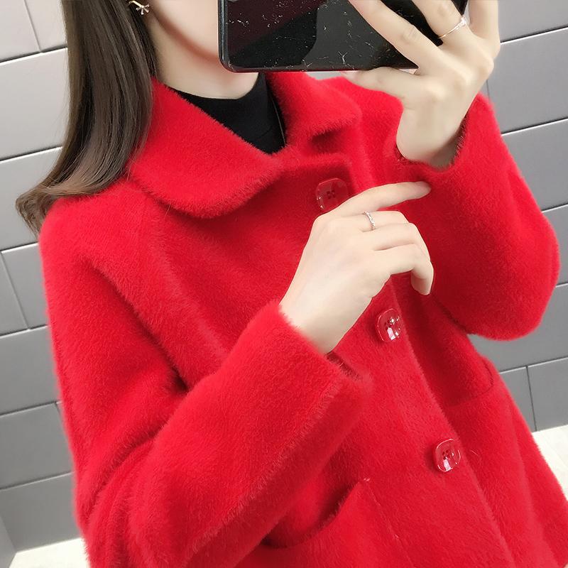 女士毛衣外套女开衫红色百搭水貂绒外套2020流行女装新款秋装上衣