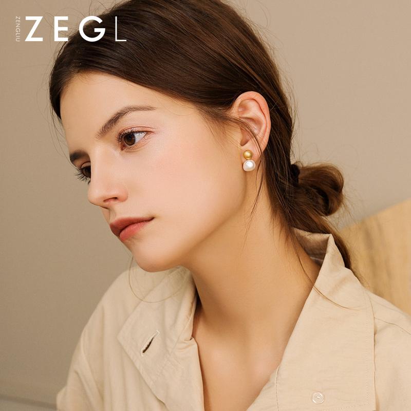 ZENGLIU淡水珍珠耳钉女2019新款潮耳环气质韩国小耳垂适合的耳饰