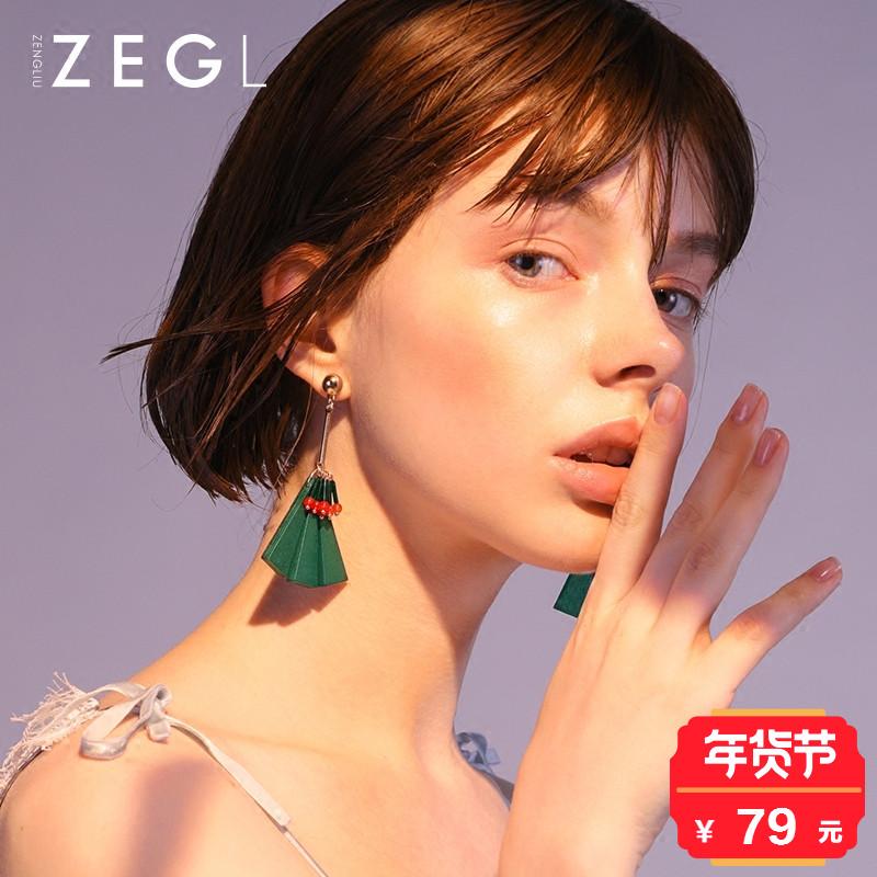 复古民族风流苏木质耳环女 韩国气质长款耳坠个性波西米亚耳饰品