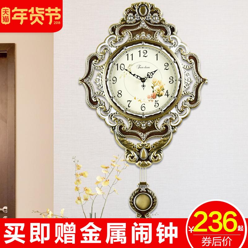 钟表客厅欧式铜挂钟复古静音时尚简约表创意时钟现代金属钟石英钟