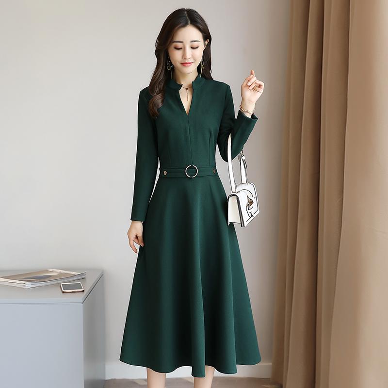 品牌 折扣 女装 优雅 领收 圆环 装饰 连衣裙