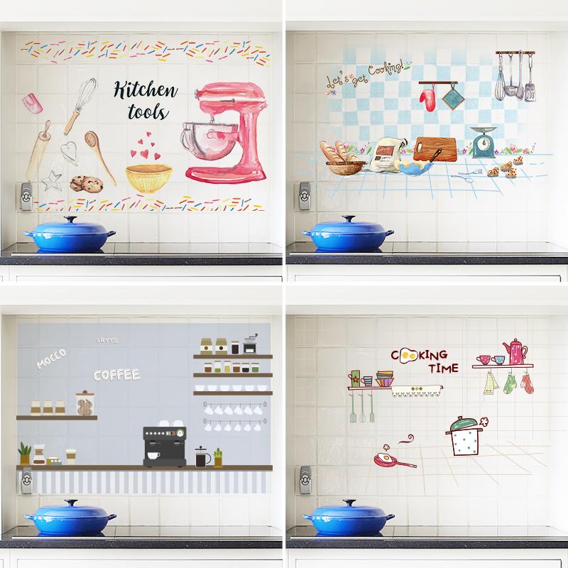 透明厨房防油贴纸防水耐高温自粘橱柜灶台用壁纸防油烟机瓷砖墙贴图片