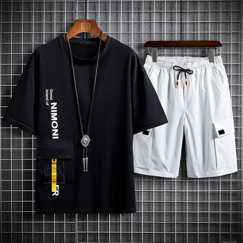休闲运动套装男夏季潮牌五分短裤搭配一套男士裤子TZ2202P55