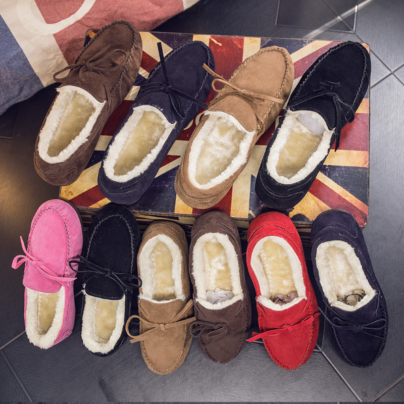 情侣鞋子冬季新款女士韩版休闲加绒豆豆鞋平底保暖懒人棉鞋女棉靴