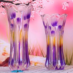 彩色水晶玻璃花瓶家用养竹子的透