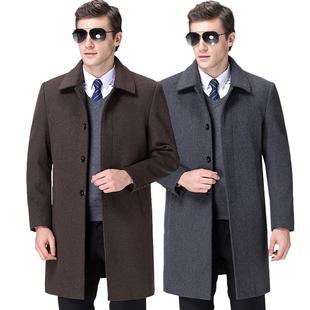 圣得西男装官网正品2020新款冬季中长款商务绅士大衣羊毛呢 外套