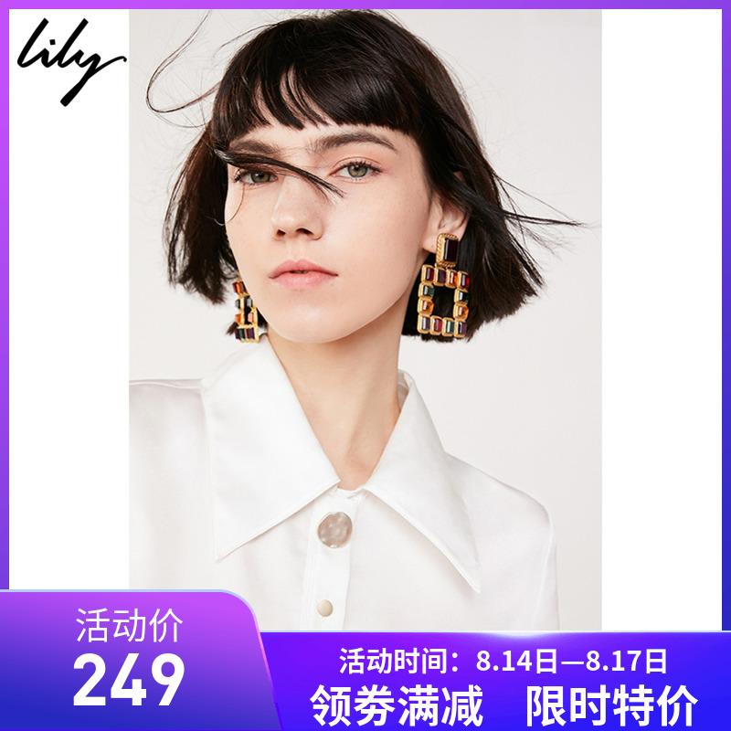 丽丽lily官方折扣店2019秋女装莉莉白色长袖休闲衬衫119130C4261
