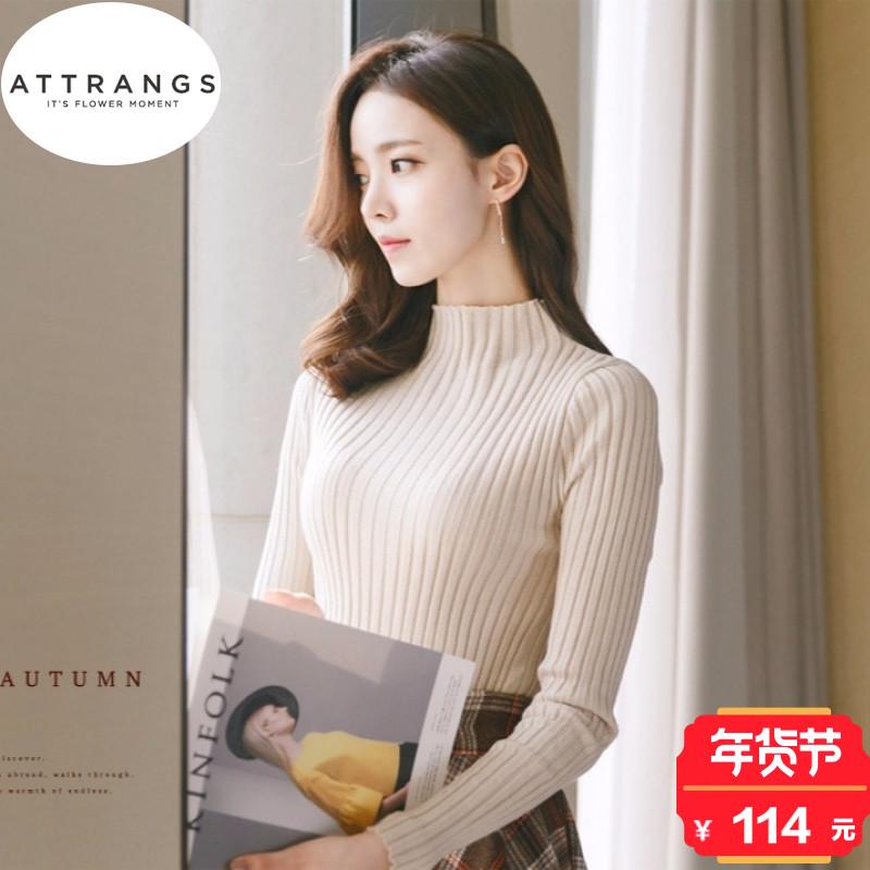 韩国attrangs2017冬季新款气质淑女甜美可爱半高领罗纹针织衫