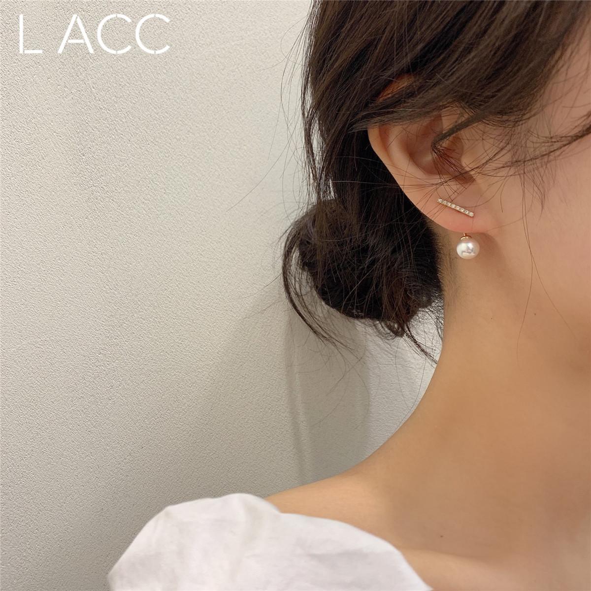 韩国东大门925银针简约水钻小一字珍珠耳钉百搭气质耳环少女耳坠