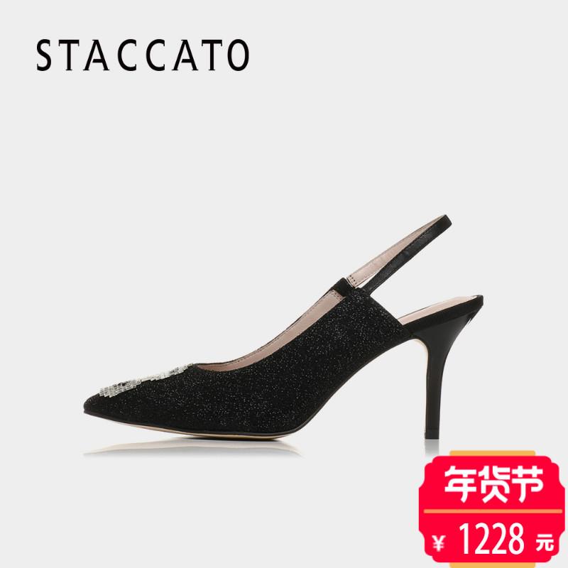 聚STACCATO/思加图2018春季专柜同款亮片布浅口女凉鞋9I222AH8