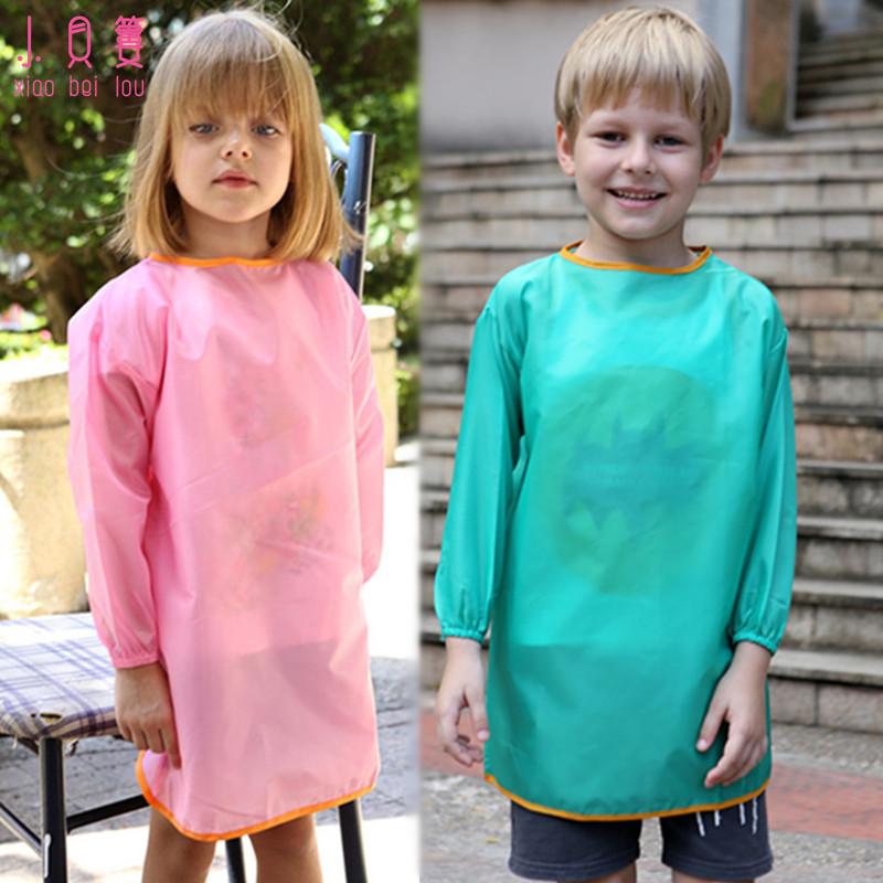 环保款儿童防水画画衣大中童围裙学生幼儿园反穿衣宝宝长袖罩衣夏