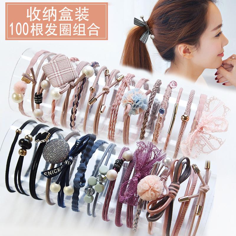 100条头绳女可爱简约发圈手链两用高弹力耐用网红扎头发皮筋发绳