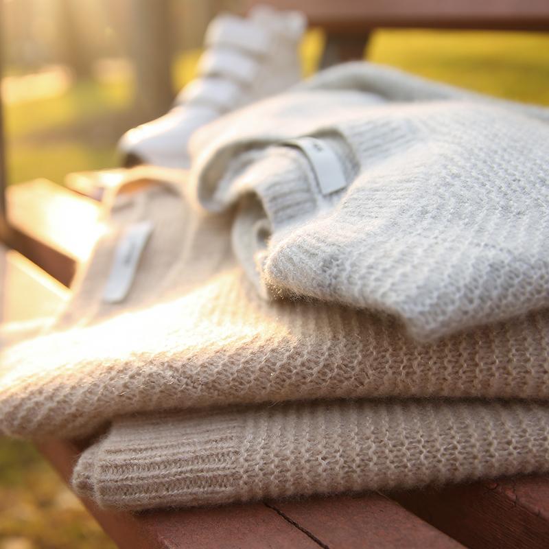の[W565014] 笑涵阁 意大利工艺新型纱线羊绒&桑蚕丝正反面套头衫