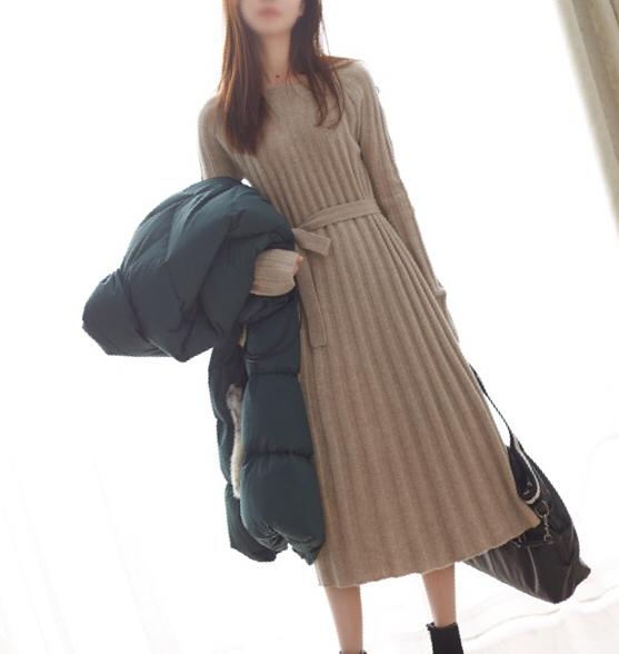 [W565230] 笑涵阁 优雅慵懒风~暖暖羊毛羊绒针织系带连衣裙17冬