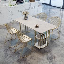 大理石桌子餐桌家用小户型简约现代长方形客厅岩板餐桌椅组合ins