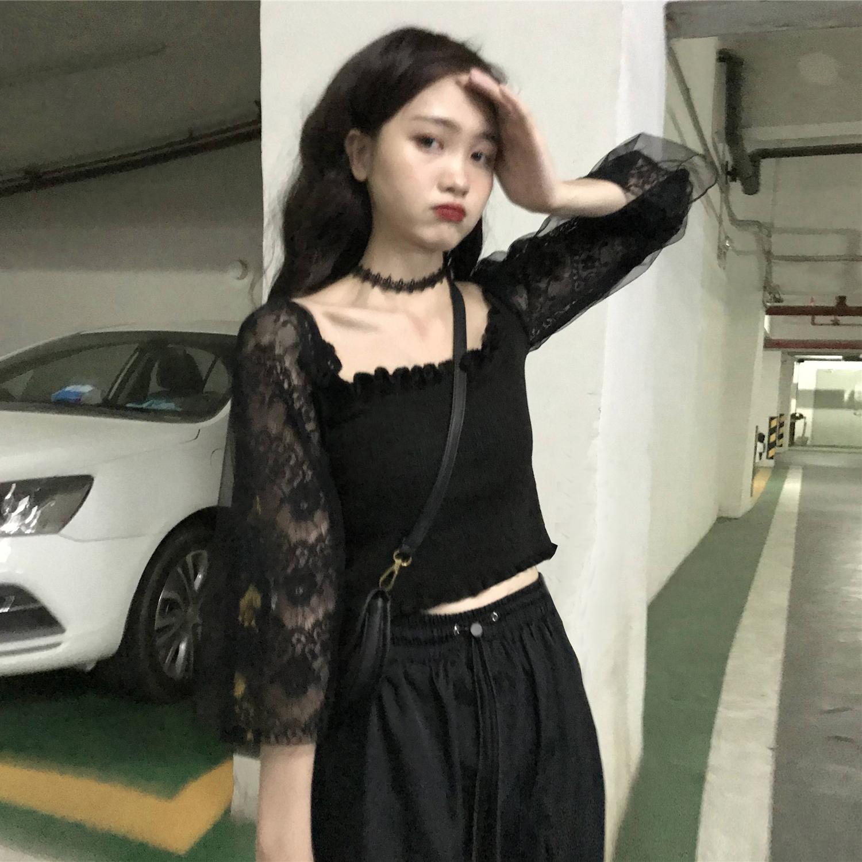 实拍实价+5修身蕾丝拼接上衣设计感女小众洋气性感长袖T恤女-大东实拍服饰-