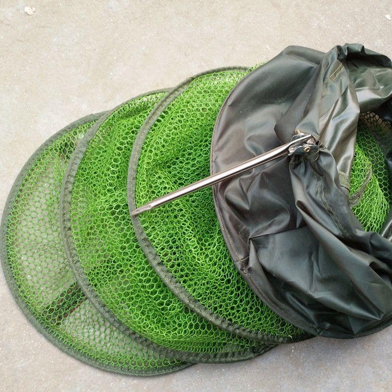 包邮涂胶防挂钢叉鱼护折叠渔护渔网速干鱼网黑坑小网眼不伤鱼网兜