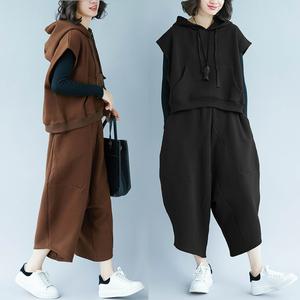 特大码女装2018秋冬新款加绒加厚洋气连帽卫衣套装特肥特大两件套