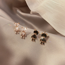 可爱(小)熊满钻耳钉女简约百gu9气质高级an饰925纯银针(小)饰品