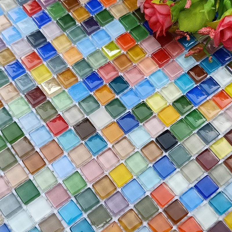 彩色玻璃马赛克1厘米七彩墙卫生间浴室装修幼儿童糖果背景墙包邮